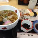 36077329 - ランパス対象の握り寿司セットもち麦麺チョイス^ ^