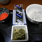 和食処 天きん - 明太子・味付海苔・しらすおろし・漬物