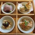 豆まる - かんぱちのお造り・湯葉真丈と生麩の天ぷら・生湯葉に醤油豆・切り干し大根