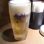 餃々 - 生ビール 390円