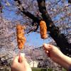 鳥鉄 - 料理写真:串かつとビールは花見のお約束です (2015.03現在)