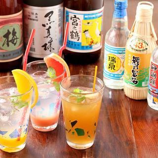 料理はもちろん、沖縄のお酒を種類豊富に堪能