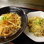 台湾料理 餃子の舞 - 料理写真:半チャーハン+辛ネギラーメン