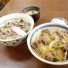 うを伊食堂 - 料理写真:2014年3月 ししうどん+しし丼(食べかけ)おなかいっぱいです(´∀`)