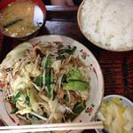 さかさ食堂 - 野菜炒め定食800円