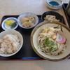 あまき - 料理写真:豚バラと大根の煮物、うの花、炊き込みご飯、冷たいうどんの日替定食780円
