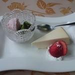 青野 - ランチFコース デザート  桜のアイス 抹茶のわらび餅