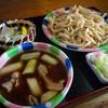 桶川市べに花ふるさと館 - 料理写真:あつもり肉ねぎ汁うどん+季節の天ぷら(アスパラ) 660円+110円