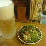 泪橋 - 生ビール、お通し