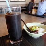 宇治創 こころ - アイスコーヒーとミニ抹茶ムース(宇治茶そばランチセット)