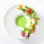 RYORIYA AO - 料理写真:神戸市西区の有機野菜とグリーンピースのムース