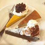 ティッシュ - ケーキ盛り合わせ  歌手のaikoちゃん行きつけのカフェにて(*^^*) aikoオススメカボチャのケーキがホントに美味しい!