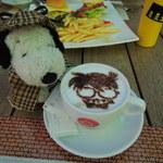 大阪ステーションシティ バール・デルソーレ - カプチーノを飲んで温まろう~!!  ちびつぬ「写真撮ってたら、ちょっと冷めちゃったわね~」  ・・・とか言いながら、コナンカフェを楽しむボキら。