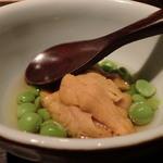 千翠 - うすい豆と唐津の赤雲丹