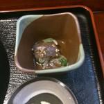 りん花 - 小鉢はカツオのづけでした(ちょっと食べたあとです)