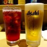 とりまる - 生ビール中とカシスソーダ(クーポン利用)