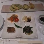 天守閣 - 料理写真:前菜(筍田楽ほか)と揚げ物(エビ、南瓜ほか)