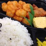 スーパーヤマト - 料理写真:えびちりとから揚げに、きんぴらごぼうも少し