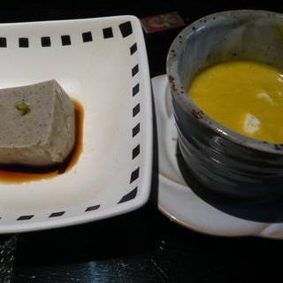 やまと吉永 - 料理写真:ごま豆腐とかぼちゃスープ