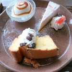 ヤサシイウタ - ケーキプレート(いちごレアチーズ・あずきシフォン・アイスクリーム)
