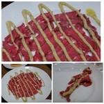 37825994 - ◆これが本物の「カルパッチョ」だそうですよ。                       熟成肉の中心部分のみを使用されていて、柔らかく甘いですね。