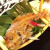 お祝い事に!【鯛の姿焼船盛りサービス♪】花火、メッセージ付
