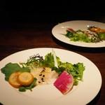 蕎麦懐石 無庵 - 平目のサラダ、紅芯大根、金柑
