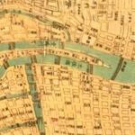 北浜レトロ - 古い地図(1863年刊) 中之島界隈。 御堂筋の完成は、1937年