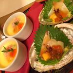 獅子亭 - 玉子豆腐イクラ添え、生湯葉の桜えび餡かけ