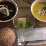 ベリーベリースープ - ビーフシチューはアッツアツ。パンプキンスープは冷たくて美味しい。