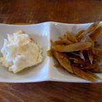 猿Cafe - ポテサラと牛蒡の和え物