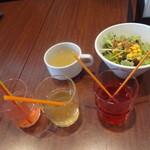 ラ・フォンターナ - パスタランチに付く、スープ&サラダ、ドリンクバーより〜梅ジュース、ブルーベリーカシス