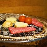 ファンボギ - 料理写真:鮎の熟れ鮓クリームと本日の熟成赤身と焼やさい(2,300円)