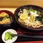 うどんの勝ち組 - 日替わり(とり天丼+おろしぶっかけ)750円♪