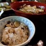 玉貴 - 筍ご飯&茸汁