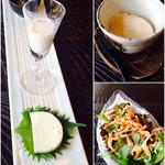田舎 - 一口三品、自家製豆腐、桜海老のサラダ