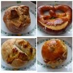 メルカート ラパンドール - ◆左上:シナモン(120円)・・グラニュー糖がかけられた少し甘めのパン・ 右上:プレッチェル(180円) 左下:ゴルゴンゾーラパン(210円) 右下:金時パン(120円)