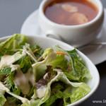 ディアーナ - ベーコンと豆と野菜のトマト風味スープ・インサラータ【2015年5月】