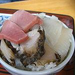 かもめ食堂 - なずな丼No.5 (アワビ・イカ・マグロ)