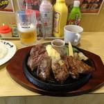 がっつりステーキ - 1ポンドステーキセット(ライスとスープ付き)2000円