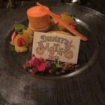 38781737 - 人参のパルフェと黒胡椒風味のオレンジゼリー  豆乳のアングレーズソース