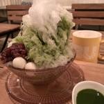 38951149 - 自家製ソースのふわふわかき氷・抹茶(2015/6)
