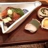 氷炭 - 料理写真:あこう煮こごり、寄せ湯葉、水茄子、万願寺とうがらし、白梅貝西京漬け炙り、鯵笹寿司、蝦蛄と水菜のお浸し、鬼灯とまと