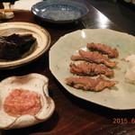 39160569 - 鯖のへしこ、鯛の塩辛、昆布の山椒煮