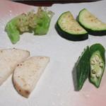 しらかわ - 茨城野菜の焼き物 カリフローレ ズッキーニ 長芋 オクラ