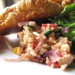 コマザワ パーク カフェ - ブレックファーストプレートにはグリーンサラダと、キヌアと押し麦のマリネも添えられます。