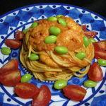 39257974 - 以前作った 海老とトマトのクリームパスタ 枝豆添え