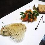 鉄板焼 grow - ポテトサラダ、いぶりがっこ入り  サーモンのマリネ  鳥のテリーヌ、クルミ入り  バルサミコソース
