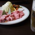 丸明 - 特選飛騨牛大皿&ビール~☆