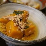 蕎麦の実 よしむら - 料理写真:おバンザイ3品のうちの1つ カボチャと鶏肉の炊いたの